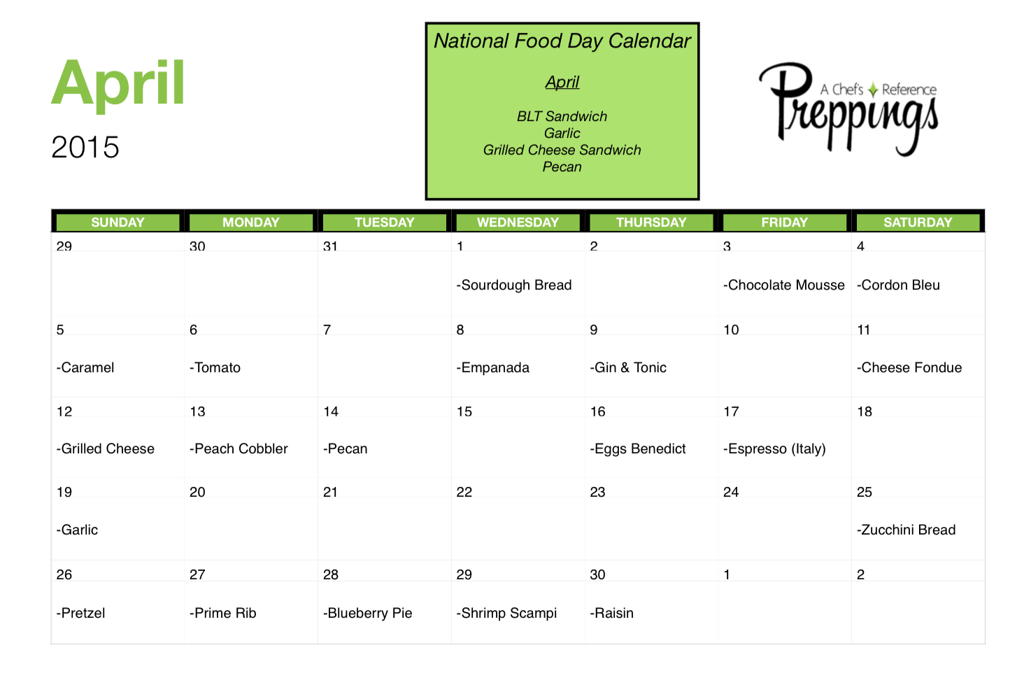 National Food Days- April 2015