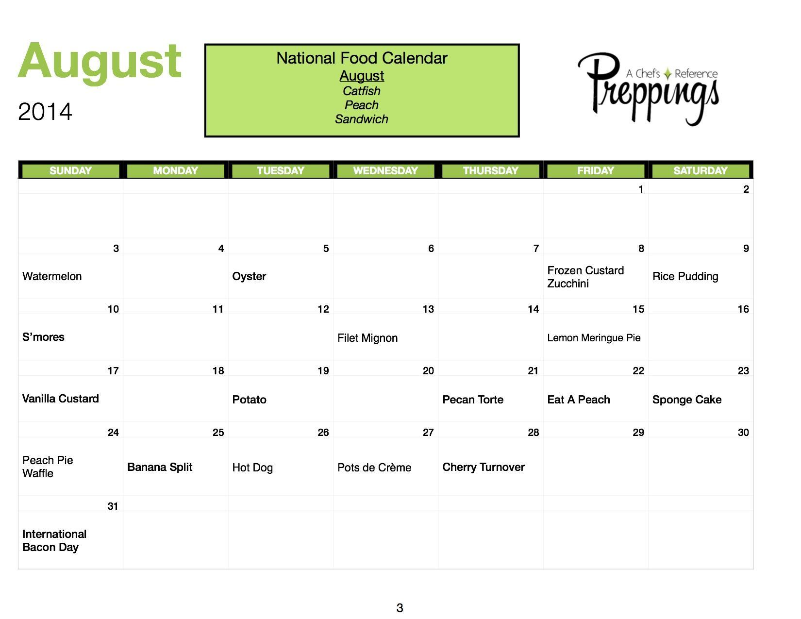 National Food Days- August 2014