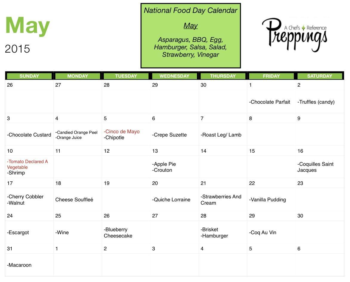 National Food Day Calendar National Food Days  May 2015   Preppings