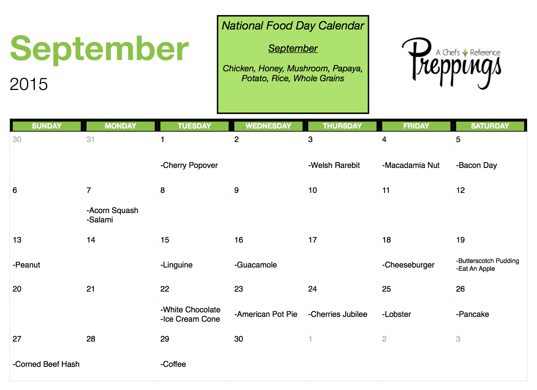 National Food Day Calendar National Food Days  September 2015   Preppings